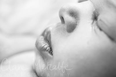 Close up of newborn baby's lips